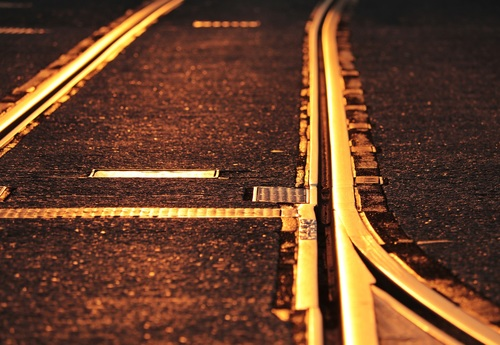 Urban traffic track in the sunset Stock Photo