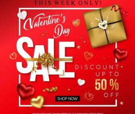 Valentine day discount sale red vectors 01