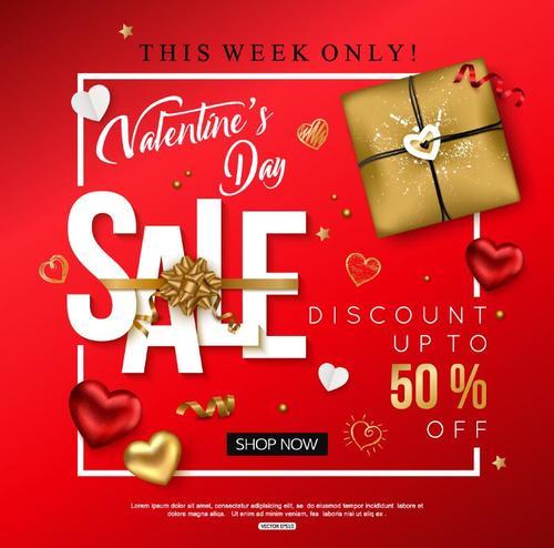 Valentine day discount sale red vectors 01