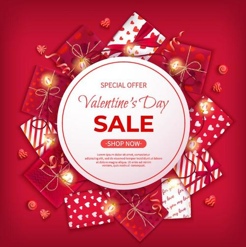 Valentine day discount sale red vectors 02