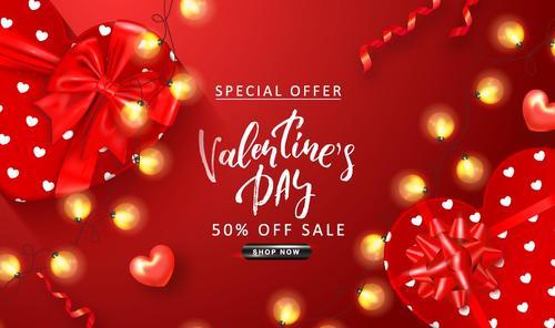 Valentine day discount sale red vectors 03