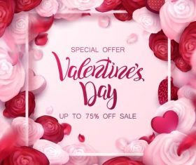 Valentine day sale design with flower frame vector