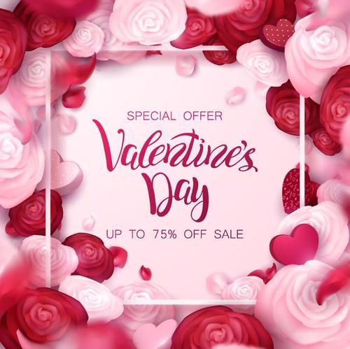 Valentine day sale design with flower frame vector