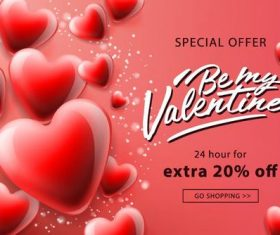 Valentine day special offer shopping poster vector