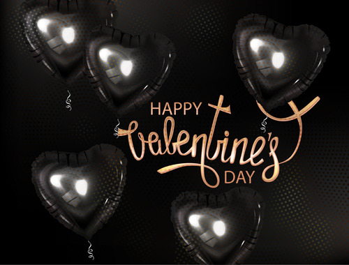 Valentines Day background with black heart shaped air balloons vector