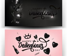 Valentines Day banners with deco objects vector
