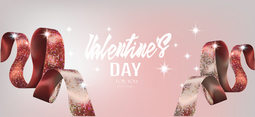 Valentines Day card with beautuful red shiny ribbons vector