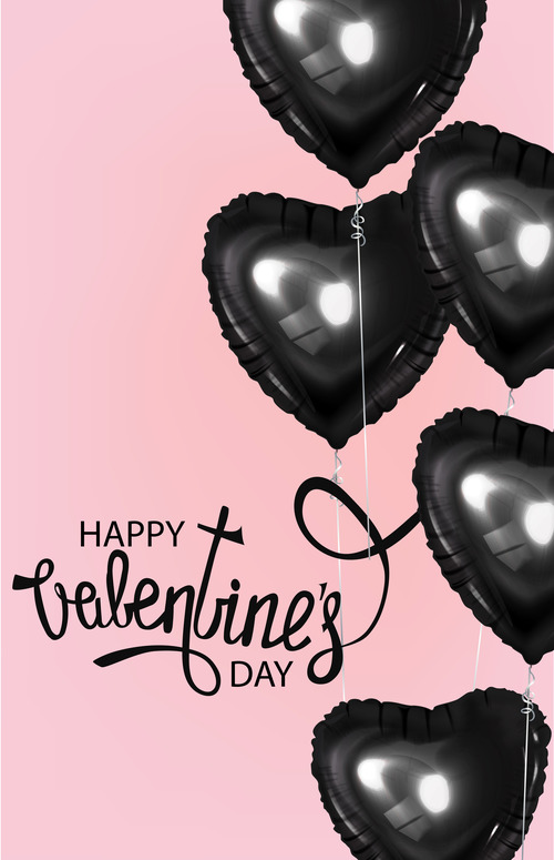 Valentines Day card with black heart shaped air balloons vector