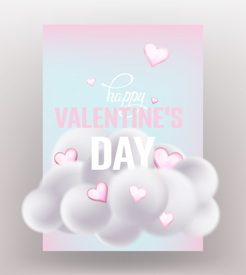 Valentines Day card with cloud and hearts vector