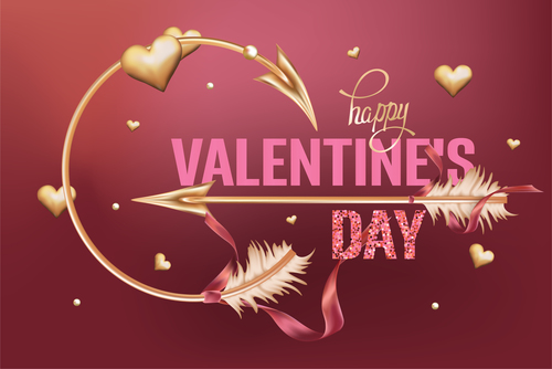 Valentines Day card with gold hearts and arrows vector