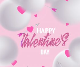 Valentines Day greeting card with hearts arrows and snow balls vector