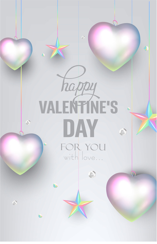 Valentines Day greeting card with pearl colored deco objects vector