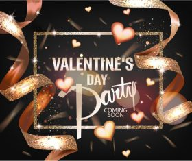 Valentines Day party card with gold hearts and ribbons vector