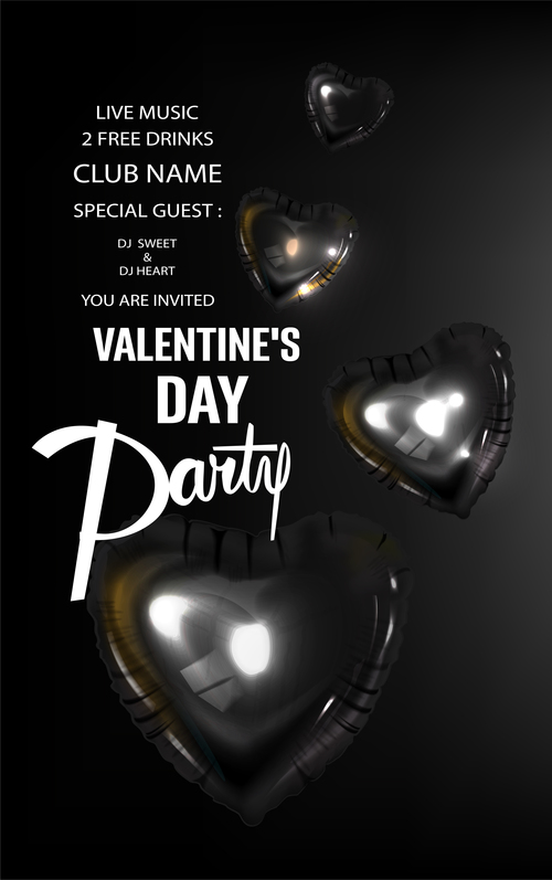 Valentines Day party invitation card with black inflatable hearts vector