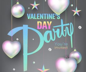 Valentines Day party invitation card with pearl colored deco objects vector