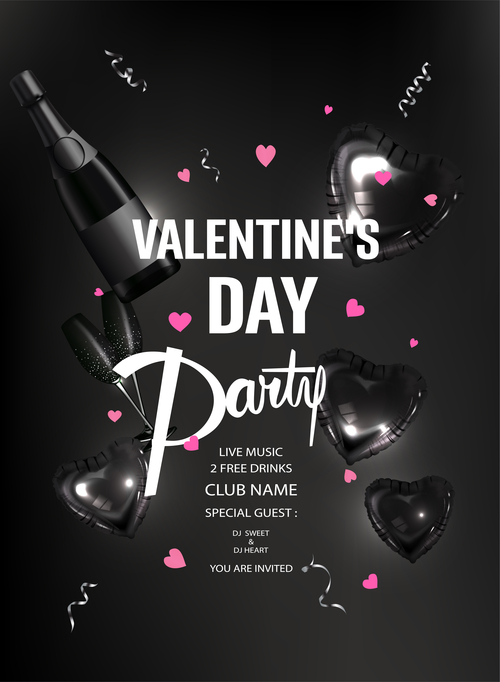 Valentines Day party invitation card with valentines deco elements vector