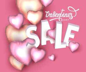 Valentines Day sale banner with inflatable hearts vector