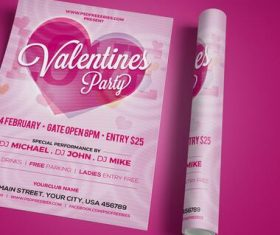 Valentines Party invitation Flyer PSD Template
