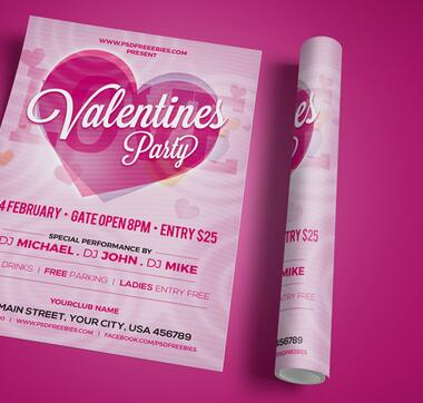 Valentines Party Invitation Flyer PSD Template Free Download