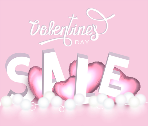 Valentines day Sale banner with letters and hearts vector