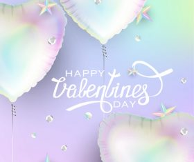 Valentines day background with heart shaped air balloons and stars vector