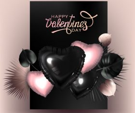 Valentines day background with tropical leaves and inflatabe hearts vector