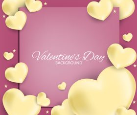 Pink valentines day background with paper hot balloon vector