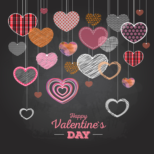 Valentines day blackboard background design vector 01
