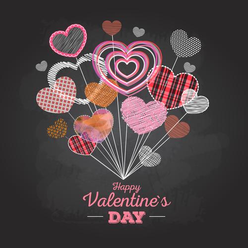 Valentines day blackboard background design vector 03