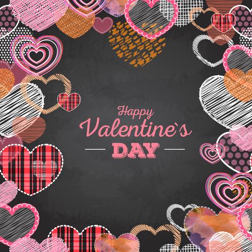 Valentines day blackboard background design vector 04