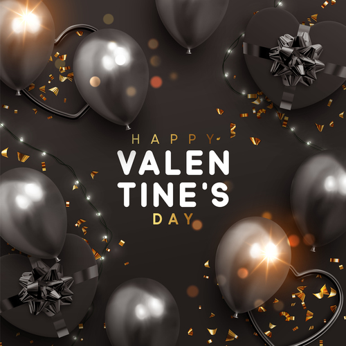 Valentines day card with balloons and confetti vectors 01