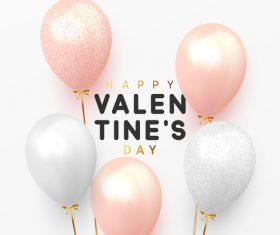 Valentines day card with balloons and confetti vectors 02