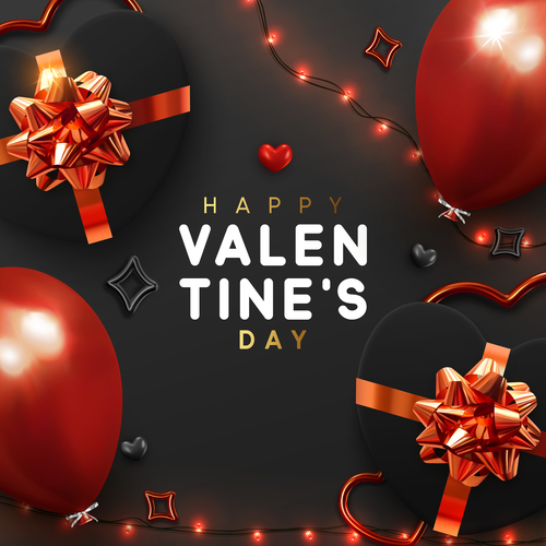 Valentines day card with balloons and confetti vectors 03