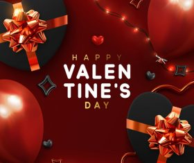 Valentines day card with balloons and confetti vectors 04