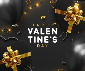 Valentines day card with balloons and confetti vectors 05