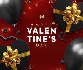 Valentines day card with balloons and confetti vectors 06