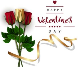 Valentines day card with golden ribbon with fresh rose vectors