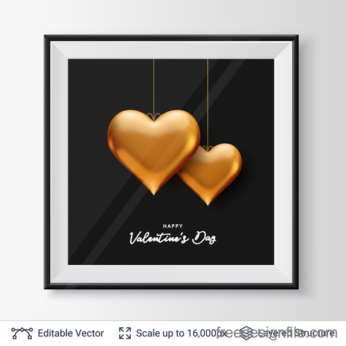 Valentines day card with photo fraem and heart vector