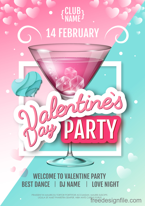 Valentines day club party flyer design vector 01