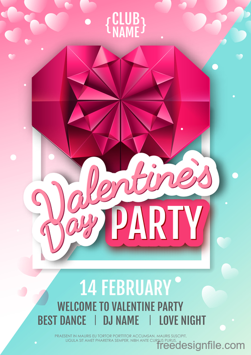 Valentines day club party flyer design vector 02