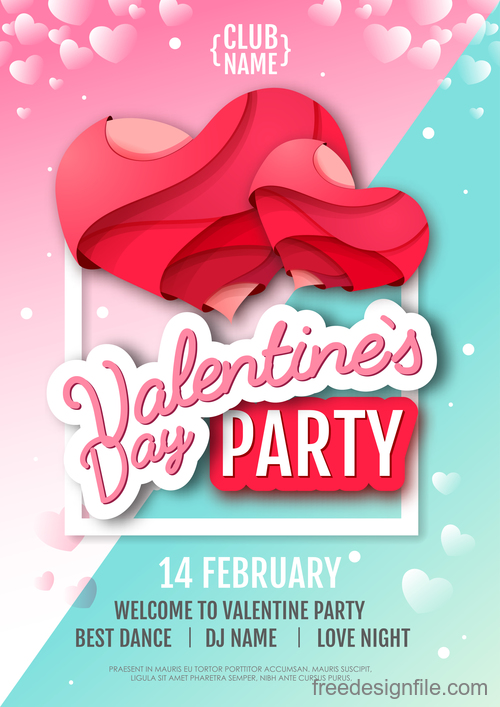 Valentines day club party flyer design vector 03