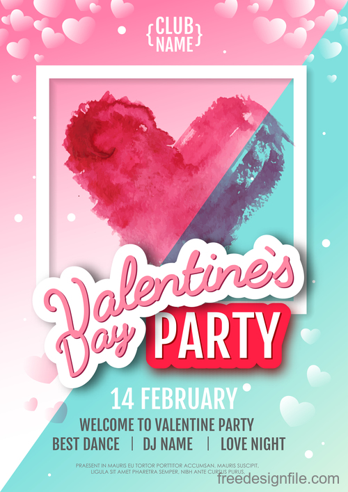 Valentines day club party flyer design vector 04