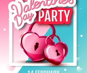 Valentines day club party flyer design vector 05