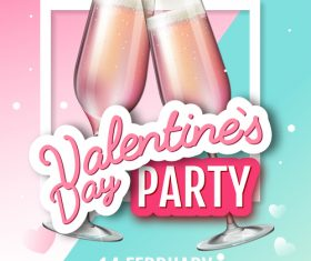 Valentines day club party flyer design vector 06