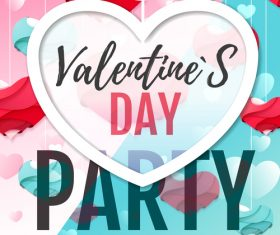 Valentines day club party flyer design vector 07