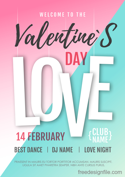 Valentines day club party flyer design vector 08