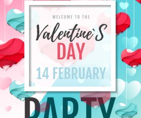 Valentines day club party flyer design vector 09