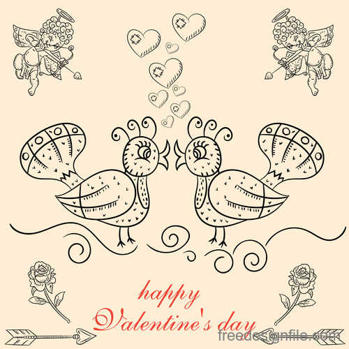 Valentines day cupids shoot their bow hand drawn vector