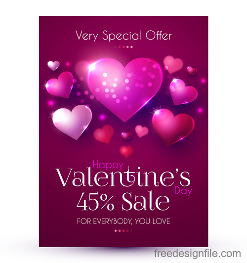 Valentines day discount sale poster vector template 01