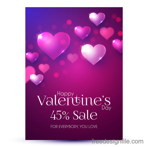 Valentines day discount sale poster vector template 02